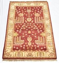 An Indian Pure Wool Carpet, Herbal Teawashed Red and Gold