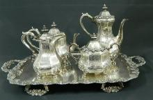 A Silver Plate Tea Service & Tray by Extra,