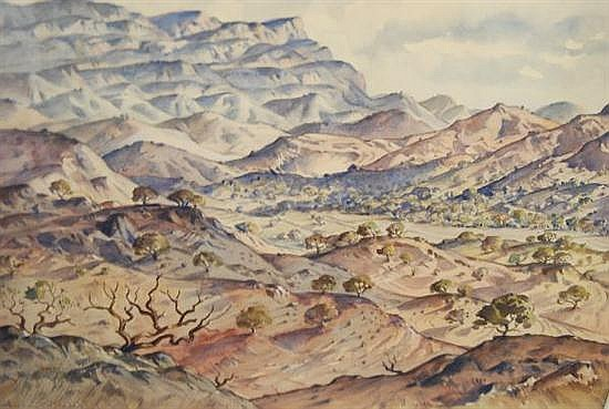 Anton David Riebe (1905 - 86) Australia Arkaba Country, Flinders Ranges, South Australia watercolour