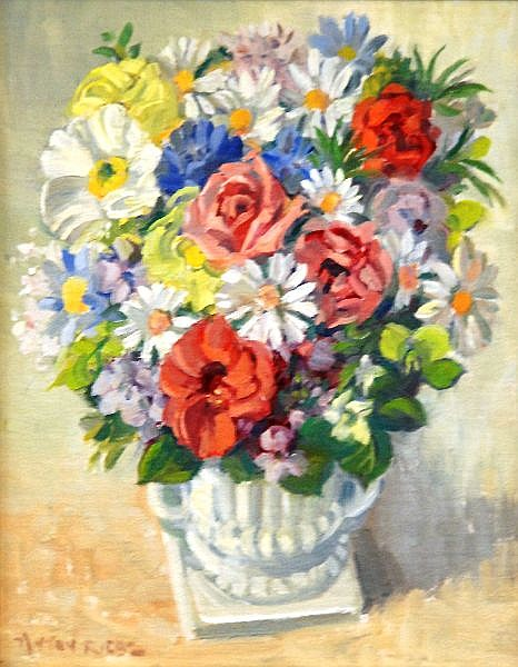 Anton David Riebe (1905 - 86) Australia Floral Still Life oil on canvassed board
