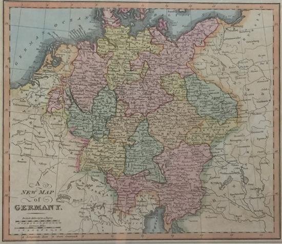 William Darton (18th Century) English A New Map of Germany 1811 Handcoloured engraving pub. London