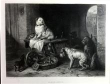 Edwin Landseer (1802-1873) English, After, Jack in the Office 1858 Steel engraving Charles G Lewis, sculpt.