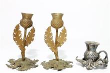 A Pair of Scottish Thistle Candlesticks & a Scottish Thistle Chamberstick, Made in England