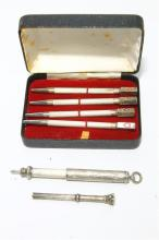 Cased Set of Four Sterling Silver Bridge Pencils together with two other Silver Mechanical Pencils