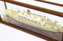 A Hand Built Model of the Orient Lines Ship Orsova in timber and perspex case