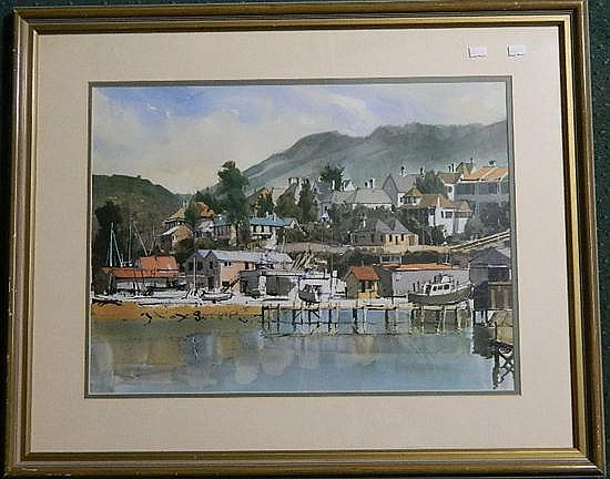 Roger Murphy, Battery Point Shipyards, offset print, framed