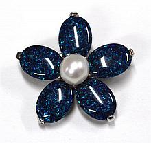 An Opal and Pearl Flower Brooch
