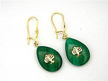 A Pair of Malachite Earrings with Gold Menorah