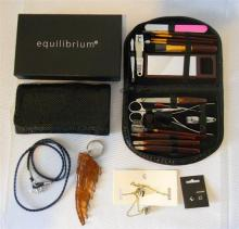 A ladies wallet marked Equilibrium; manicure set; crocodile key ring plus jewellery