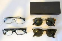 Two pairs of sunglasses, one marked D. Franklin plus two pairs spectacles