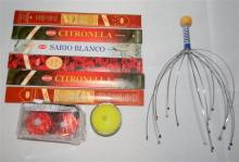 The relaxation pack incl. head massager, incense & candles