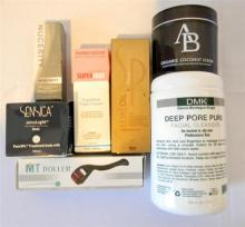 A bag of skincare products incl. deep pore cleanser organic scrub etc.