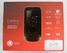 An Onix 3G Flip Senior mobile phone in open box