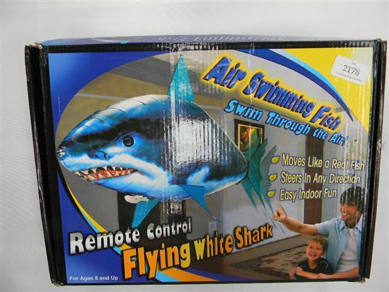 Two remote control flying white sharks air swimming fish for Air swimming fish