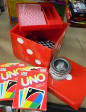 The games pack incl. Uno, Neo Spheres & Dice game set