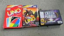 Three card games incl. Catch phrase & Uno