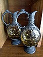 A Pair of Glass and Pewter Jugs 23cm high