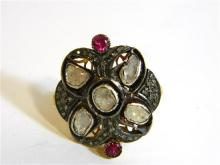 A Sterling Silver and Gilt Ruby and Diamond Ring