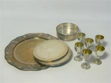 Six Albion Silver Plated Sherry Goblets together with three Strachan Coasters & Serving Plate