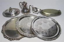 A Collection of Silver Plate Items including Drinks Trays, Terrines & others [7]
