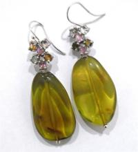 A Pair of Sterling Silver Green Amber & Tourmaline Earrings,