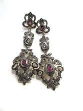 A Pair of Sterling Silver Tourmaline and Diamond Earrings,