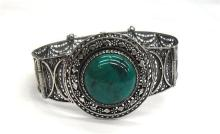 A Chinese Art Deco Sterling Silver Agate Filigree Bangle,