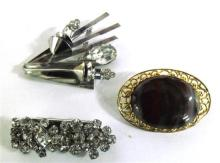 Three Costume Jewellery Brooches including Crystal,