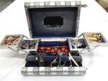A Metal Handmade Indian Jewellery Box with Embossed Elephants & a Collection of Costume Jewellery,