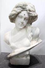 A White Stone Bust of a Young Aristocratic Women, Contemplation,