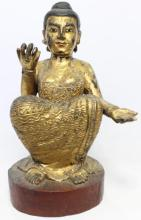 A Voluptuous Gilt Wood Spirit Figure, Richly Adorned with Glass Beads on her Robe, Burma, 20th Century,