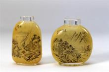Two Inside Painted Glass Snuff Bottles, one bears signature Ma Shaoxuan, Summer, dated 1925