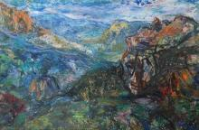 A Ryan (20th Century) Blue Mountains 1957 Oil on board