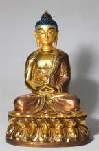 A Finely Cast Sino-Tibetan Copper, Brass & Gilt Buddha, Seated on a Double Lotus Throne, 20th Century,