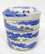A Japanese Porcelain Three-tiered Circular Stacking Box, Transfer Printed in Blue & Green, Meiji Period 1868-1912