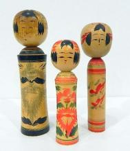 Three Japanese Kokeshi Dolls Signed by the Maker Artist, Painted Wood, mid 20th Century,