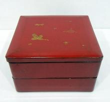 A Square Japanese Ceremonial Two Tiered Box with Gilt Decoration