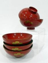 Five Japanese Red Lacquer Bowls, Taisho period