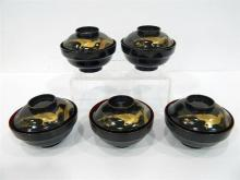 Five Japanese Lacquer Lidded Dishes Painted with Tri Colour Gilt Pheasant, Taisho Period