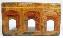 Indian/Tibetan Carved Wood Miniature Arched Windows for Deities, Painted in Red & Yellow Pigment, 19th/20th Century