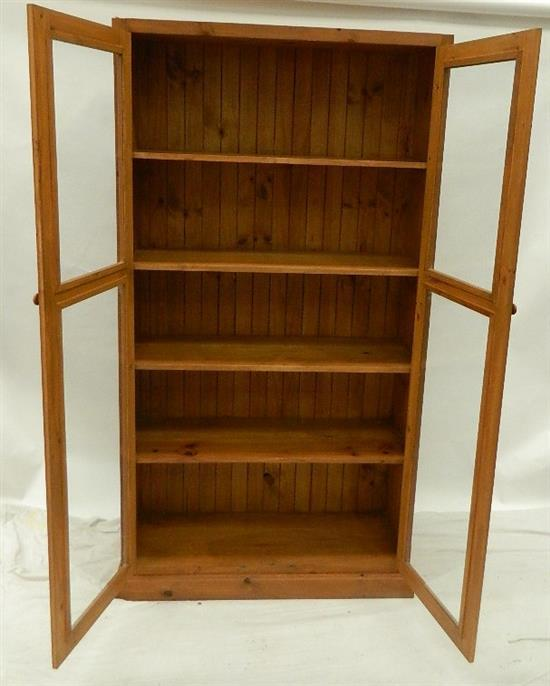 A Pine Display Cabinet With Glazed Doors