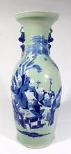 A Chinese Porcelain Vase painted Blue & White on a Celadon Ground, late Qing,