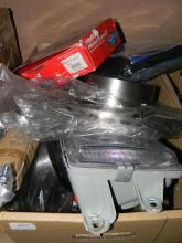 Two boxes assorted car parts & components