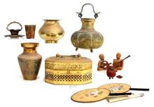 A Collection of Fourteen Objects, an India Pierced Lidded Box, Three Fans, early 20th Century,