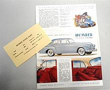 A Very Rare 1953 Humber Super Snipe Sales Brochure and Price List