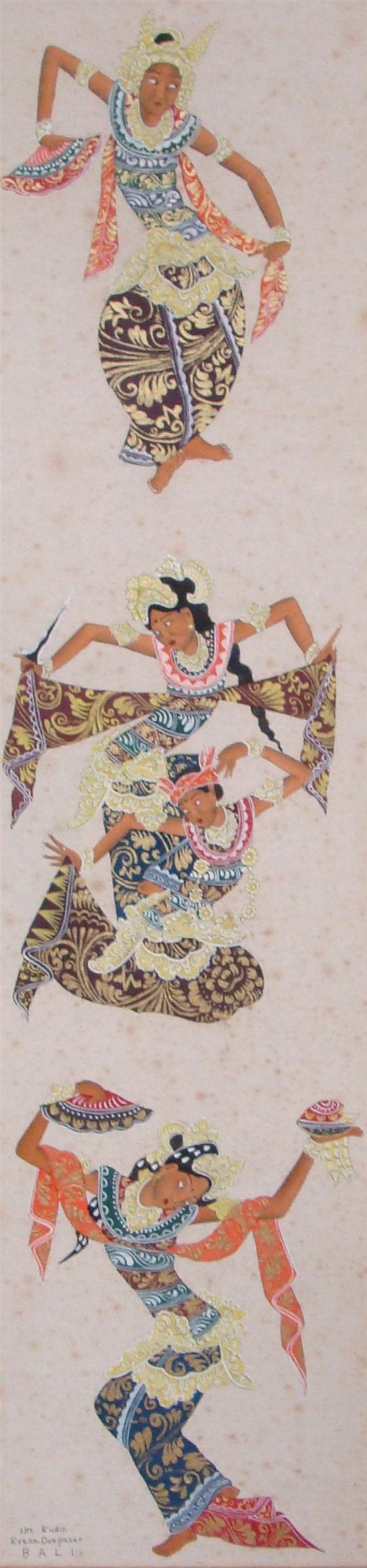 I Ketut Rudin (1918-) Balinese/Indonesian, Attributed, Legong Dancers Watercolour on cotton