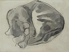 Charles William Bush (1919-1989) Sleeping Cat Pen, ink & brush