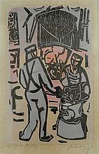 Ian Armstrong (b.1923) The Smith Shop 1986 Colour woodcut ed. 1/10