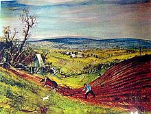 Arthur Merric Bloomfield Boyd (1922-1999) Ploughing the Field, near Frankston Photolithograph ed. 48/100