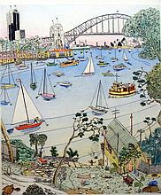 Peter Kingston (b.1943) Beula Sense & Scrubber of Lavender Bay 1986 Handcoloured etching ed. 46/90